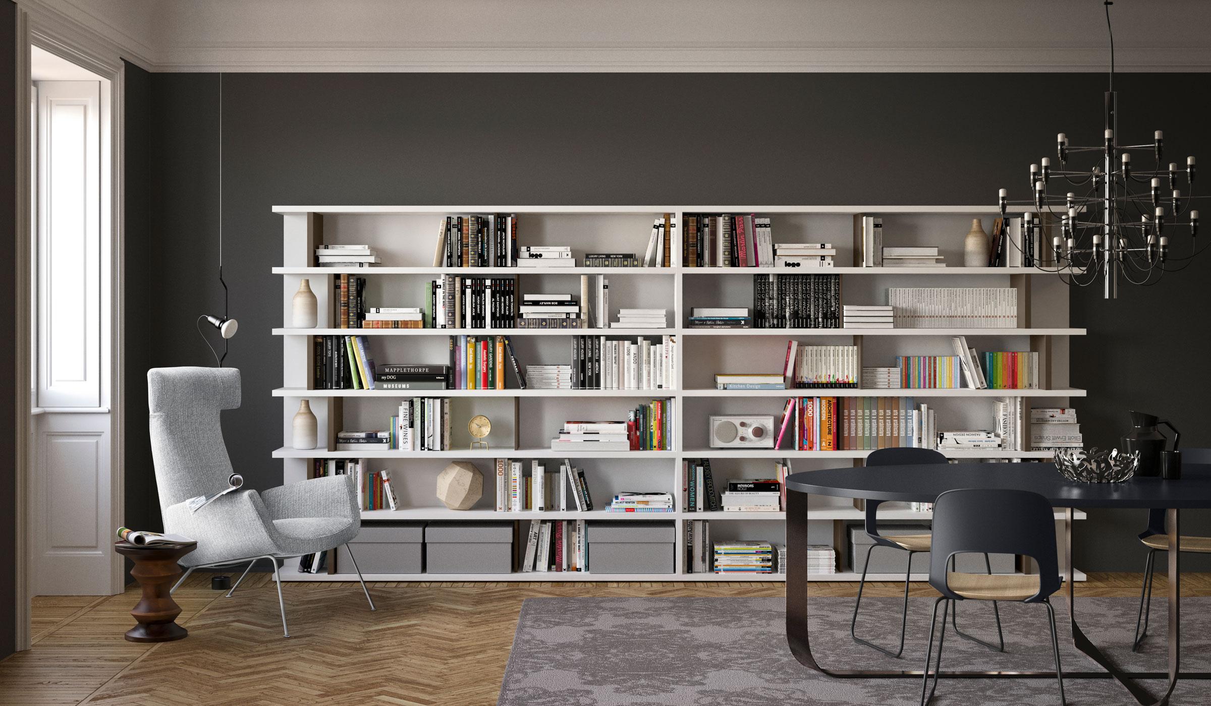 libreria sala da pranzo moderna