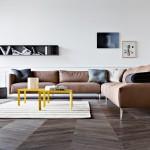 salotto moderno in pelle marrone medio