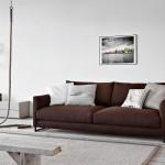 divano moderno pelle rosso scuro