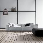salotto moderno in pelle bianco