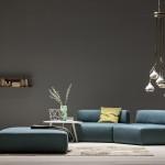 divano moderno pelle blu mare