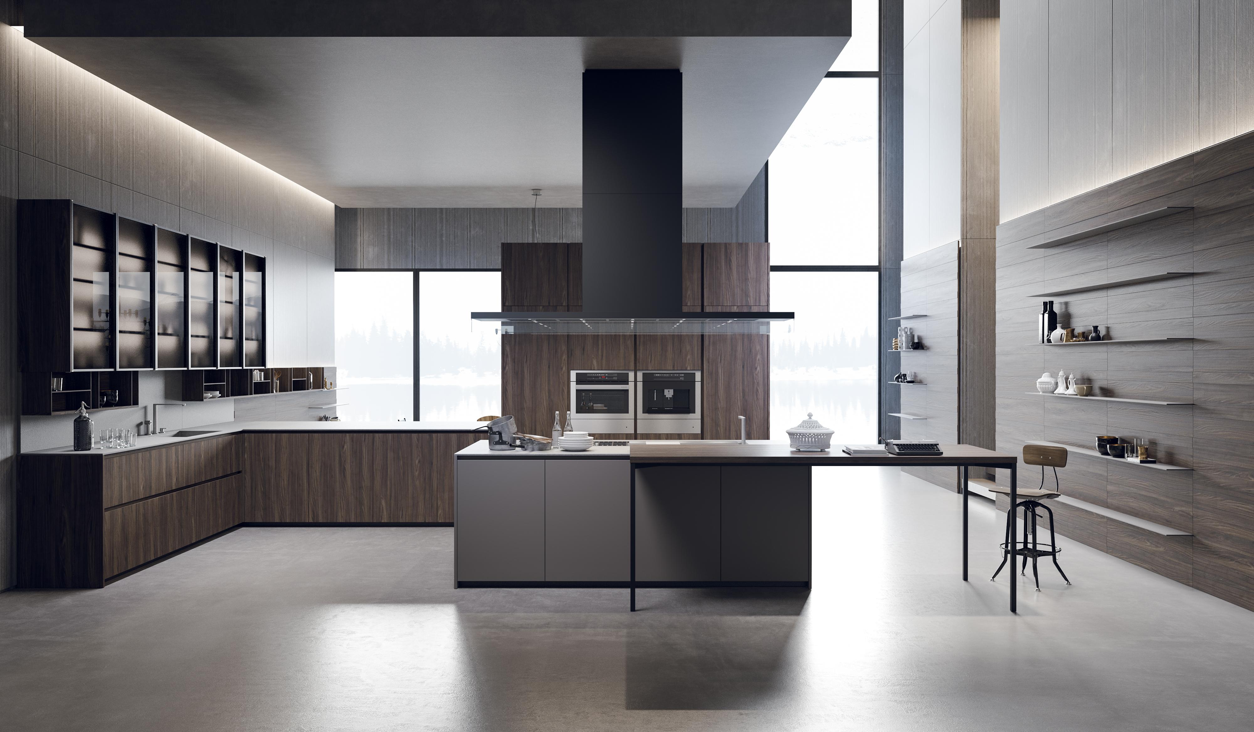 cucina moderna color grigio legno