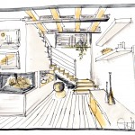 schizzo cucina moderna con isola