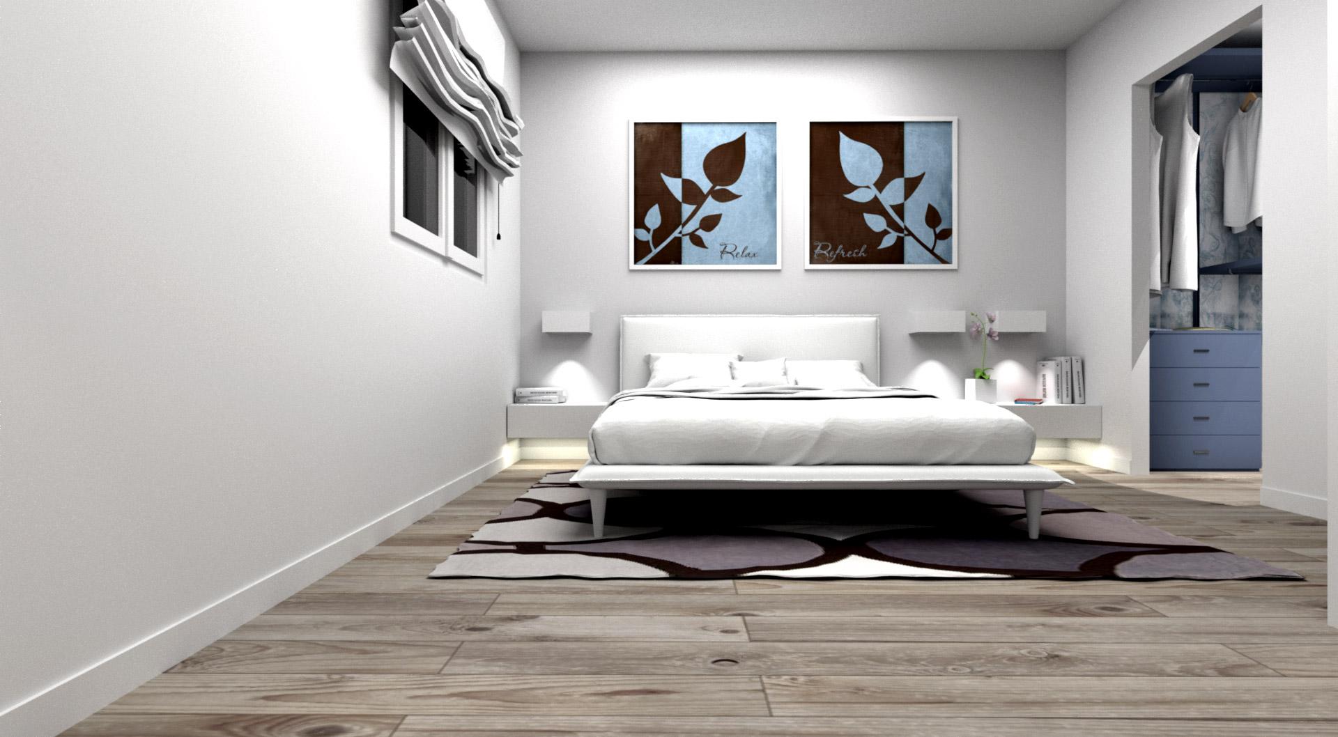 camera da letto moderna bianca