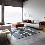 salotto moderno grigio medio