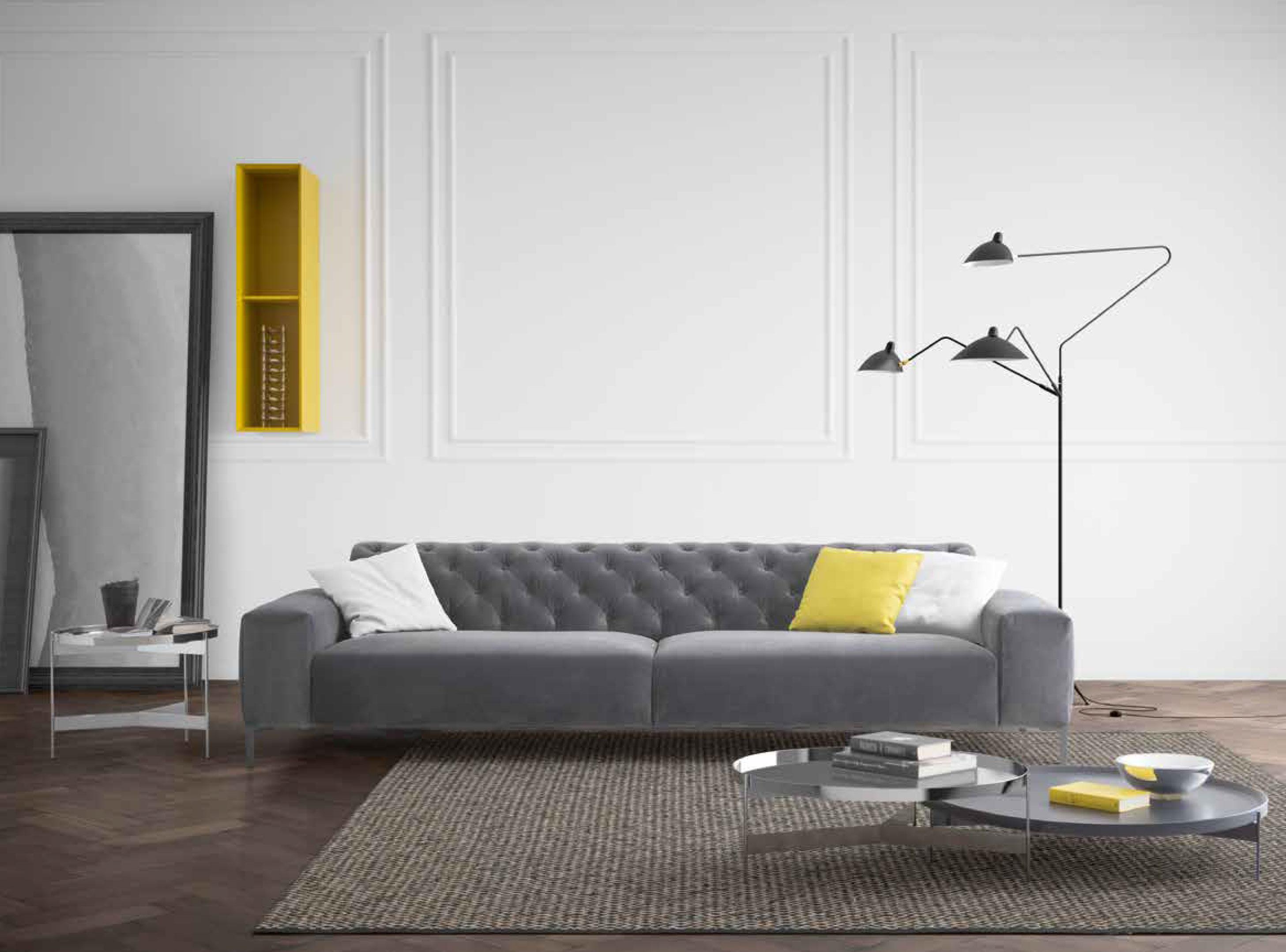 Salotto Moderno Grigio : Esempio soggiorno moderno grigio e viola